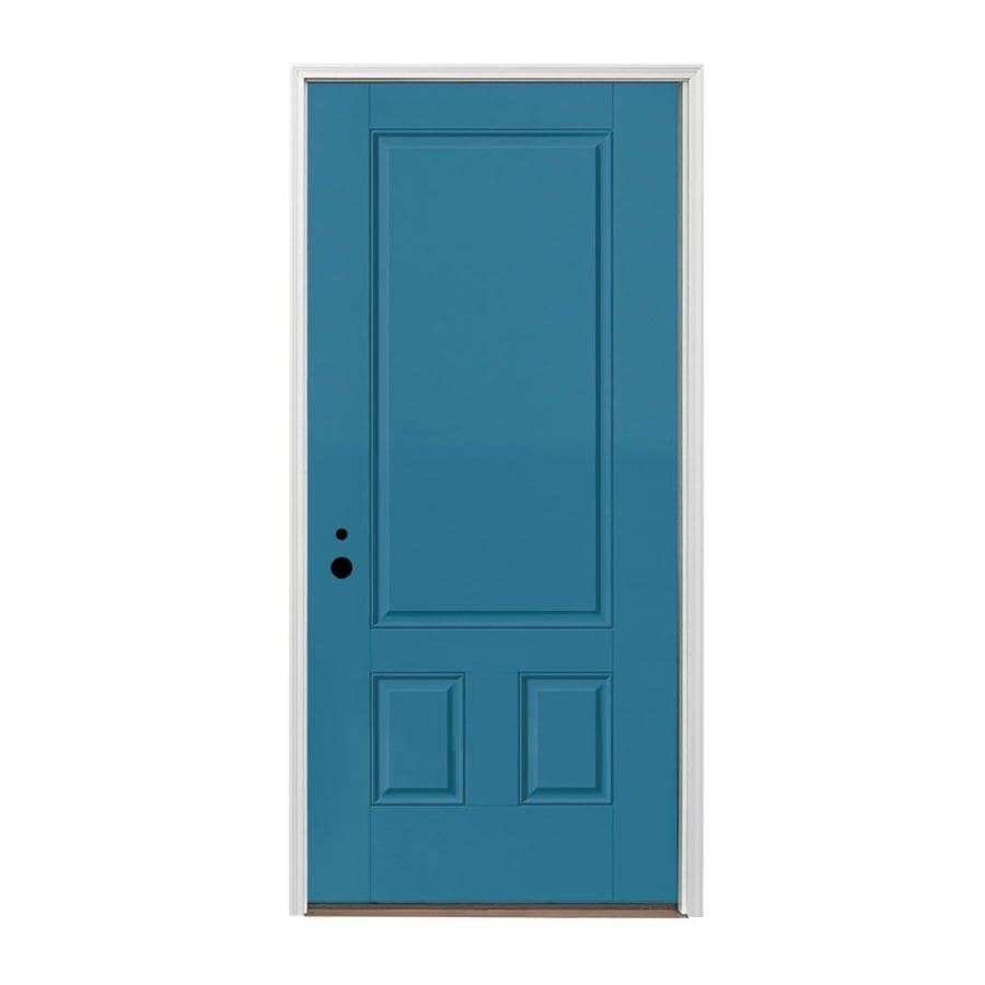 Pella 3-panel Insulating Core Right-Hand Inswing Fiberglass Painted Prehung Entry Door (Common: 36-in x 80-in; Actual: 37.5-in x 81.75-in)