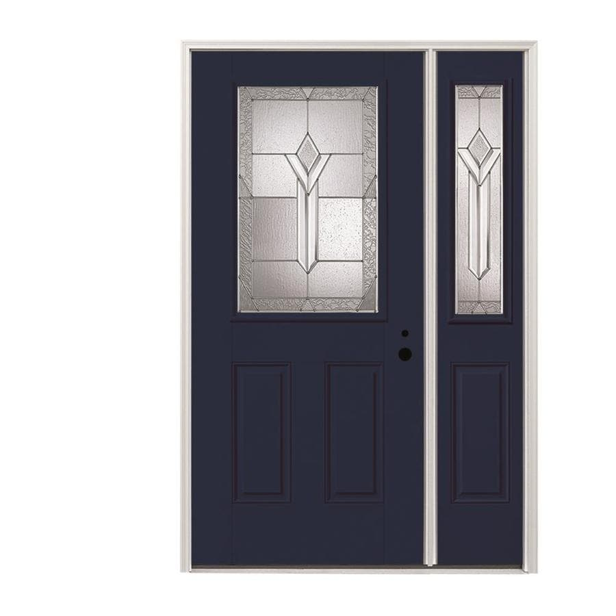 Pella Half Lite Decorative Gl Left Hand Inswing Prefinished Naval Exterior Interior Painted Fibergl Prehung Entry Door With Right Sidelight