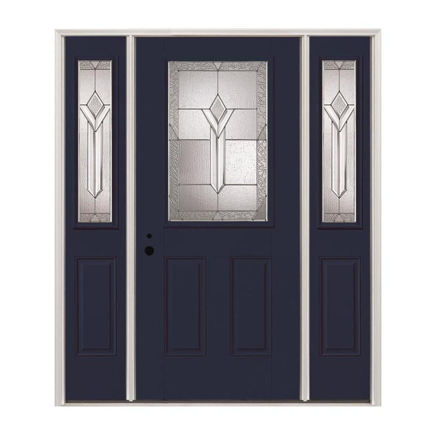 Pella Half Lite Decorative Gl Right Hand Inswing Prefinished Naval Fibergl Prehung Entry Door With