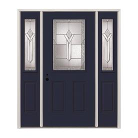 Pella Half Lite Decorative Gl Right Hand Inswing Painted Fibergl Prehung Entry Door With Sidelights