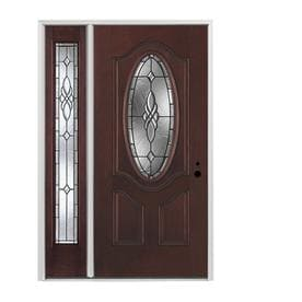 Pella Oval Lite Decorative Gl Left Hand Inswing Red Mahogany Stained Fibergl Prehung Entry Door