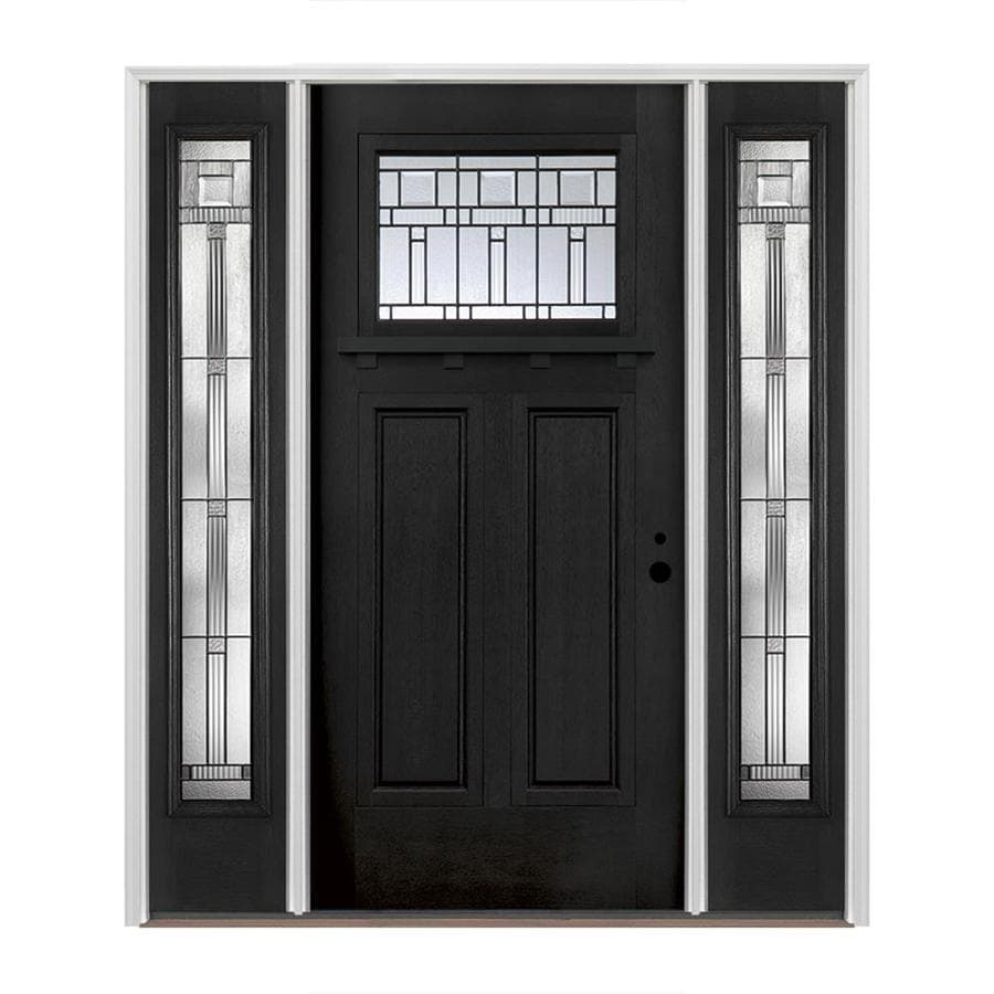 Shop pella craftsman decorative glass left hand inswing prefinished black fiberglass prehung for Lowes exterior doors with sidelites