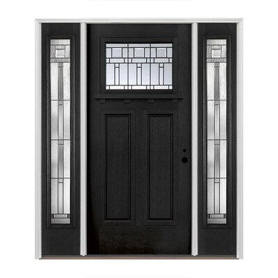 Craftsman Decorative Gl Left Hand Inswing Prefinished Black Interior Exterior Painted Fibergl Prehung Entry Door With Sidelights And