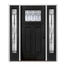 Pella Craftsman Decorative Gl Left Hand Inswing Painted Fibergl Prehung Entry Door With Sidelights And