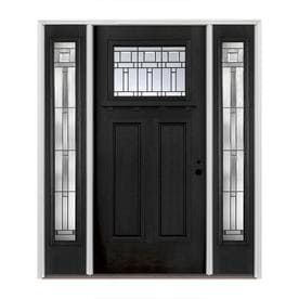Pella Craftsman Decorative Glass Prefinished Black Fiberglass Prehung Entry Door  With Sidelights And Insulating Core (