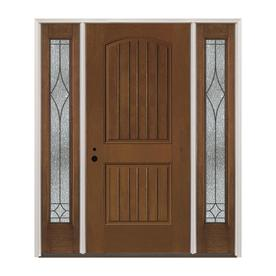 Pella Right Hand Inswing Stained Fibergl Prehung Entry Door With Sidelights And Insulating Core