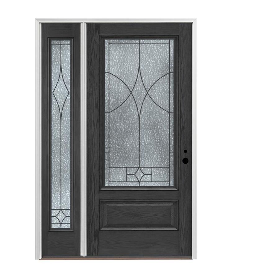 Pella 3 4 Lite Decorative Gl Left Hand Inswing Charcoal Fibergl Prehung Entry Door