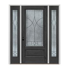 Pella 3/4 Lite Decorative Glass Charcoal Fiberglass Prehung Entry Door With  Sidelights And Insulating