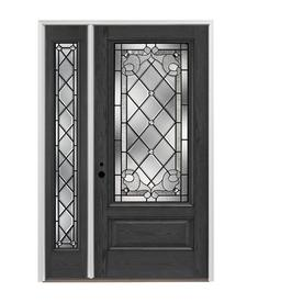 Pella 3 4 Lite Decorative Gl Right Hand Inswing Prestained Charcoal Exterior Interior