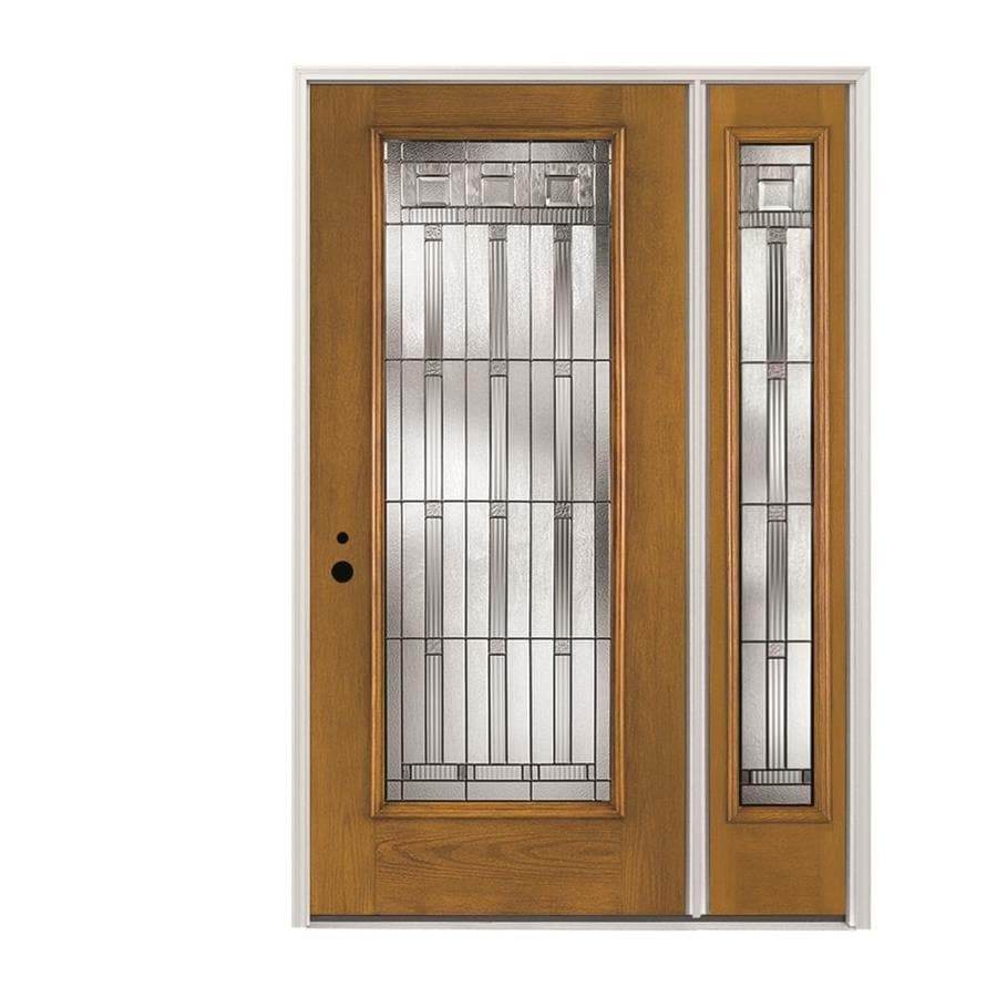 Shop Pella Full Lite Decorative Glass Right Hand Inswing Golden Oak