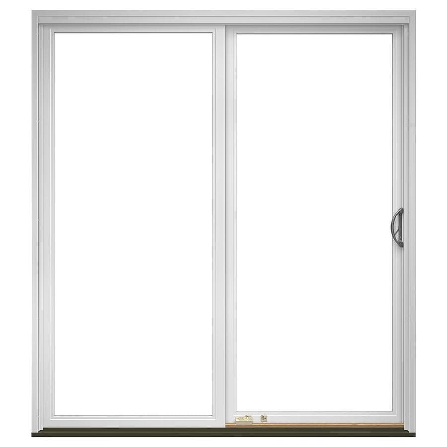 Pella 72 In X 80 In Clear Glass Fiberglass Right Hand Sliding Patio Door With Screen In The Patio Doors Department At Lowes Com
