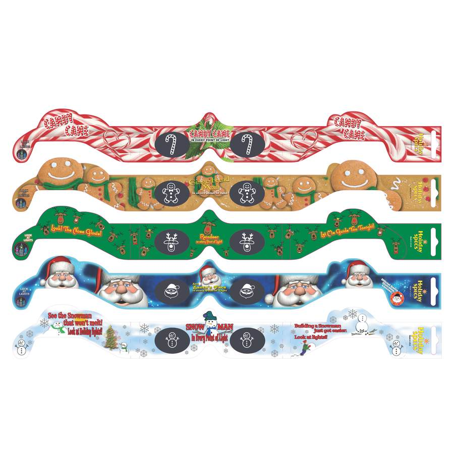 Holiday Specs Assorted One Size Fits All Paper 3D Christmas Glasses