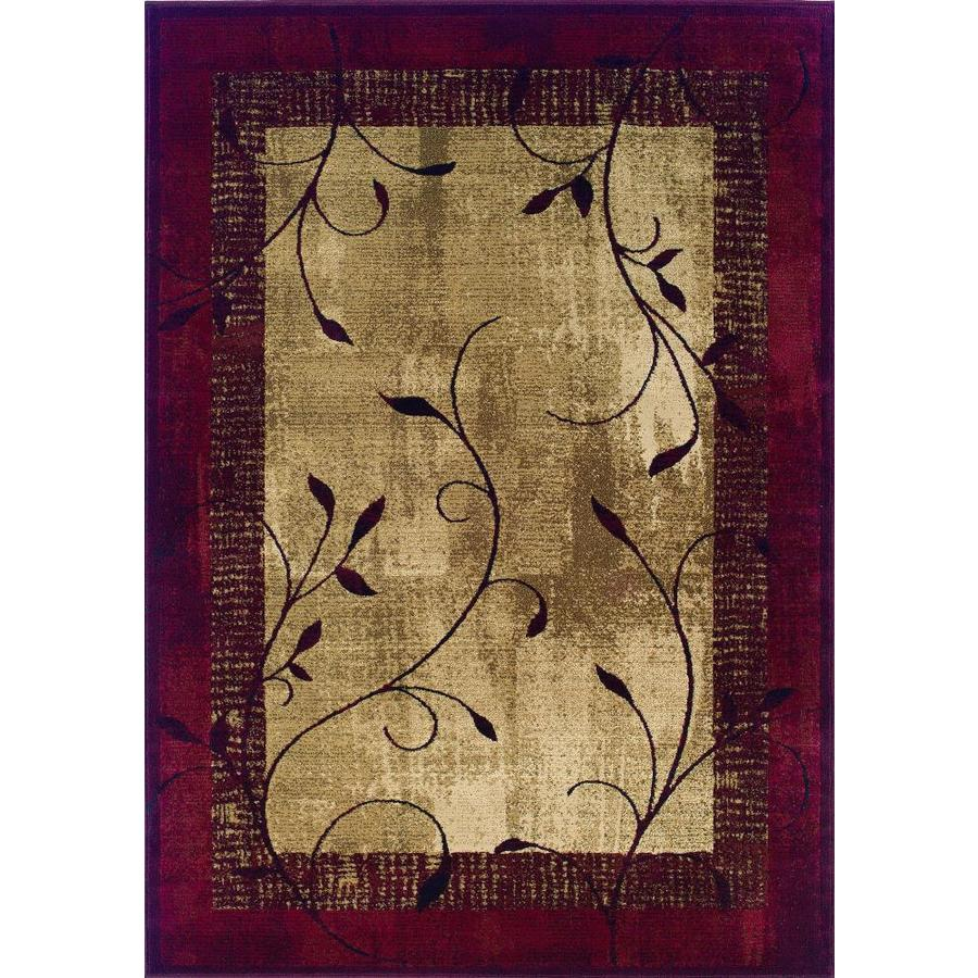 allen + roth Tinsley Red Rectangular Indoor Machine-Made Nature Area Rug (Common: 4 x 6; Actual: 3.83-ft W x 5.42-ft L)
