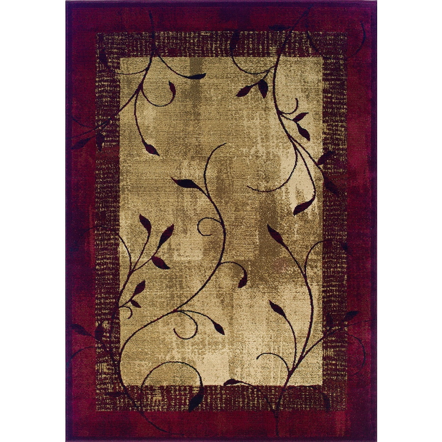Shop allen + roth Tinsley Red Rectangular Indoor Machine-Made Nature Area Rug (Common: 5 x 7 ...