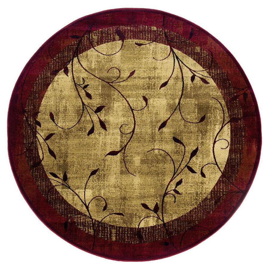 allen + roth Tinsley Red Round Indoor Machine-Made Nature Area Rug (Actual: 7.67-ft Dia)