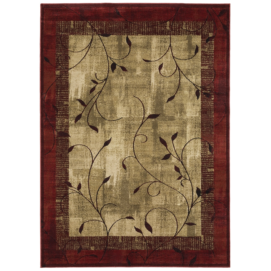 Delightful Allen + Roth Tinsley Red Rectangular Indoor Machine Made Nature Area Rug  (Common: