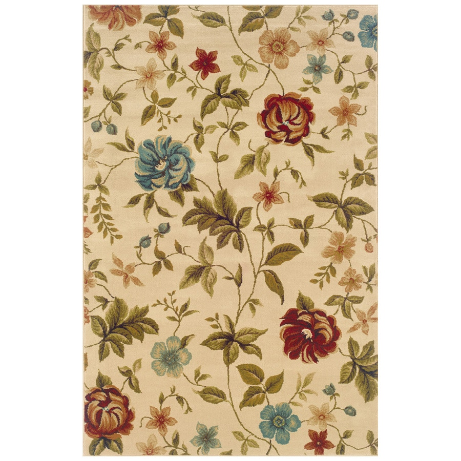Sedia Home Layan Rectangular Cream Floral Area Rug (Common: 5-ft x 8-ft; Actual: 5-ft x 7-ft 6-in)