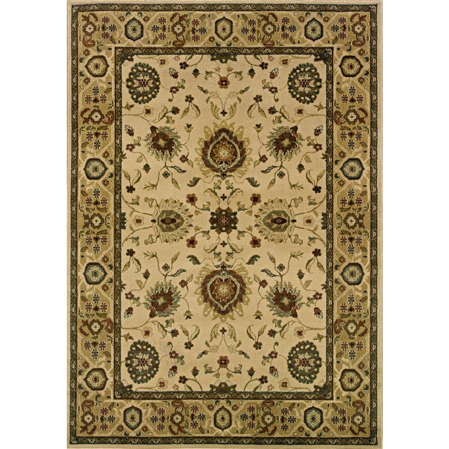 Oriental Weavers of America Revival Rectangular Cream Floral Woven Area Rug (Common: 8-ft x 11-ft; Actual: 7.66-ft x 10.83-ft)