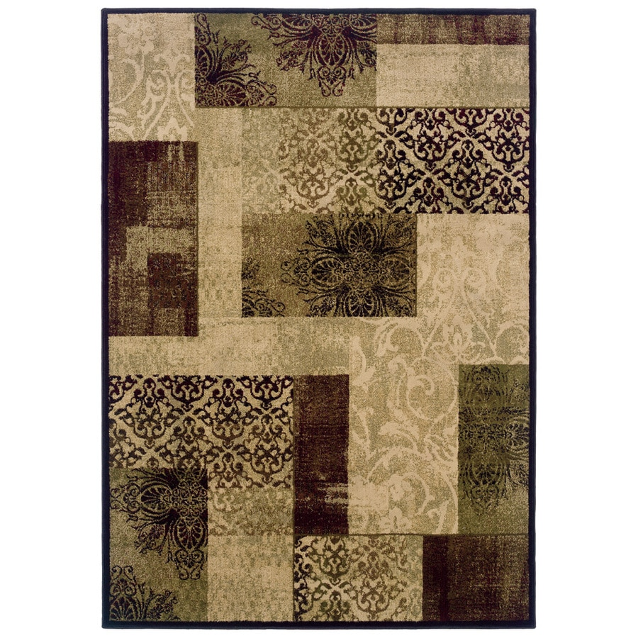 allen + roth Harrisburg Rectangular Cream Transitional Woven Area Rug (Common: 10-ft x 13-ft; Actual: 9.83-ft x 12.75-ft)