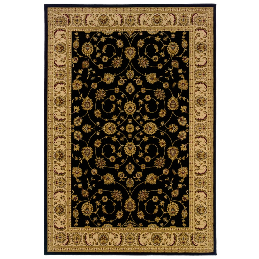 allen + roth Kennett 9-ft 10-in x 12-ft 9-in Rectangular Black Border Area Rug