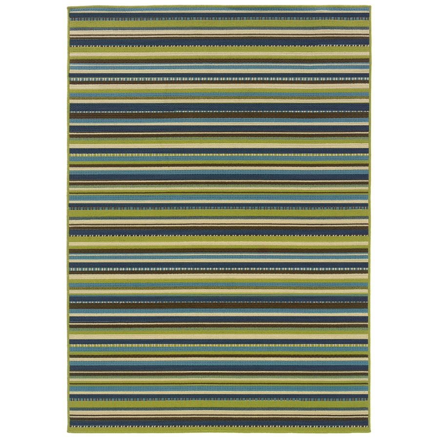 Garden Treasures Portland Rectangular Multicolor Transitional Indoor/Outdoor Woven Area Rug (Common: 5-ft x 8-ft; Actual: 5.25-ft x 7.41-ft)