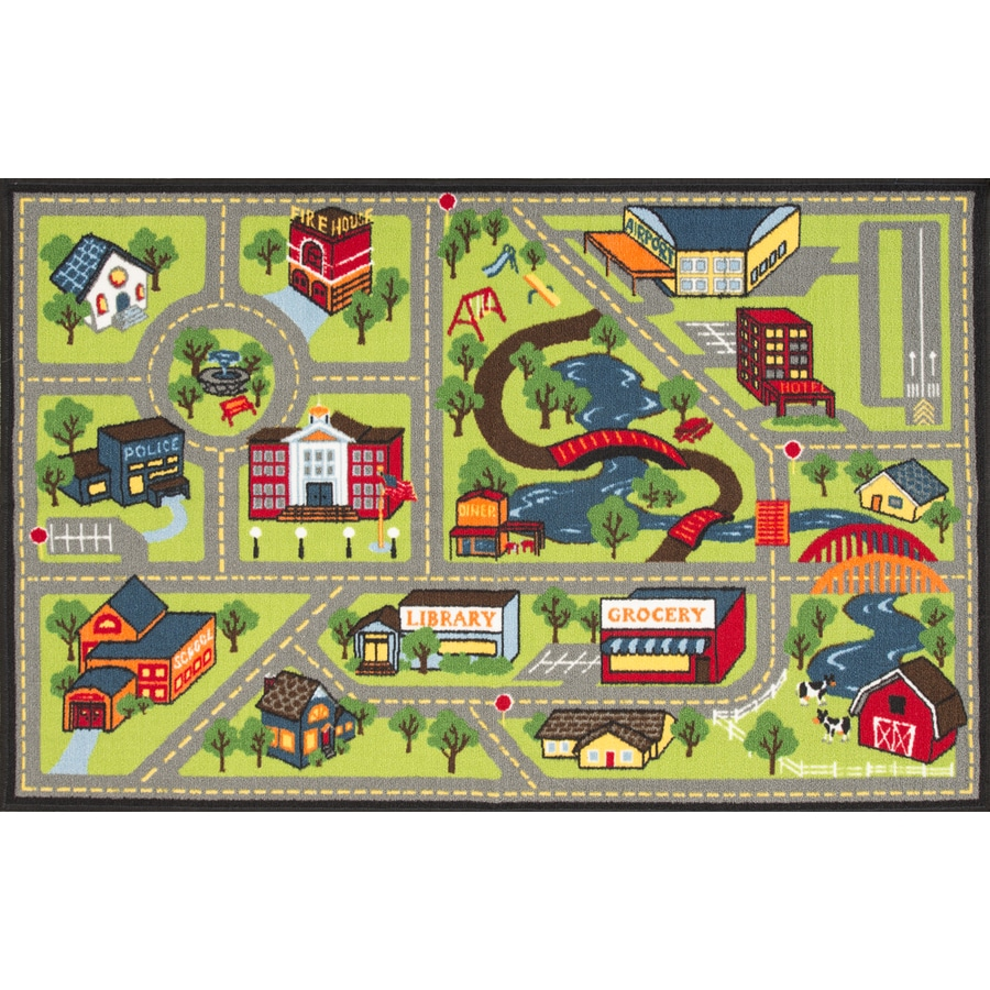 Oriental Weavers of America My Town Multicolor Rectangular Indoor Tufted Kids Throw Rug (Common: 3 x 5; Actual: 39-in W x 59-in L)
