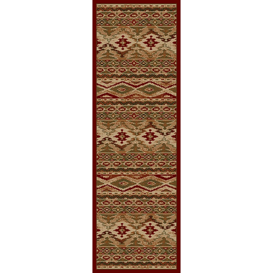 Style Selections Cleston Red Rectangular Indoor Woven Southwestern Runner (Common: 2 x 8; Actual: 22-in W x 90-in L)