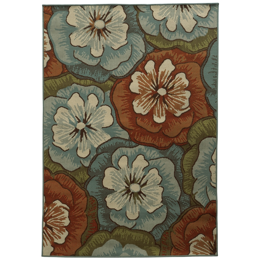 Shop garden treasures sandburne multicolor rectangular for Woven vinyl outdoor rugs