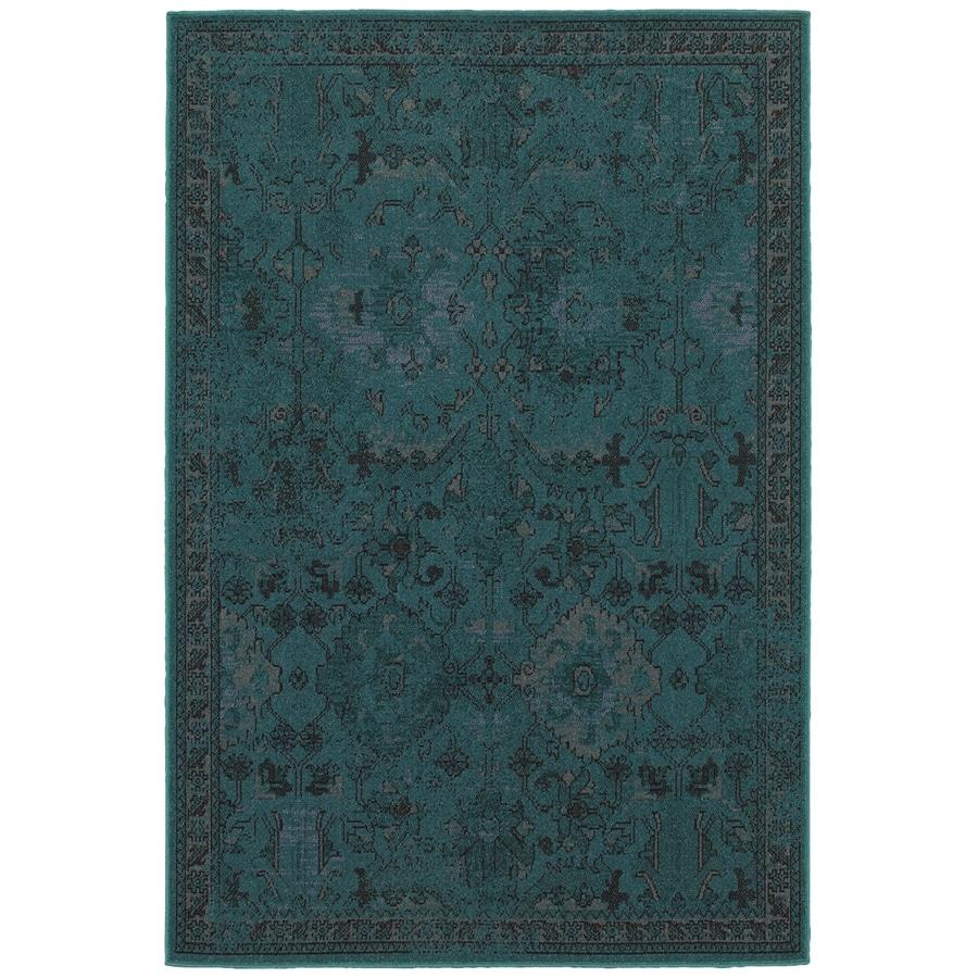 allen + roth Belsburg Teal Rectangular Indoor Woven Oriental Area Rug (Common: 8 x 11; Actual: 7.83-ft W x 10.83-ft L)