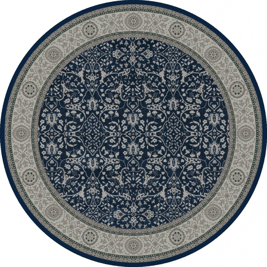 Oriental Weavers of America Mansfield Blue Round Indoor Woven Oriental Area Rug (Common: 8 x 8; Actual: 92-in W x 92-in L x 7.67-ft Dia)