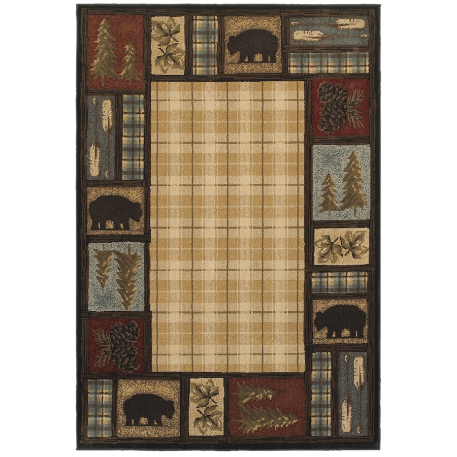 Oriental Weavers of America Hideaway Multi Rectangular Indoor Machine-Made Lodge Area Rug (Common: 4 X 6; Actual: 3.83-ft W x 5.42-ft L)