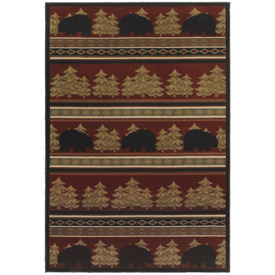 Oriental Weavers of America Summit Red Rectangular Indoor Machine-Made Lodge Area Rug (Common: 4 x 6; Actual: 3.83-ft W x 5.42-ft L)
