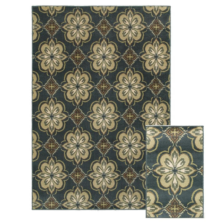 Oriental Weavers of America Vienna Blue Rectangular Indoor Woven Area Rug (Common: 5 x 7; Actual: 5-ft W x 6.58-ft L)