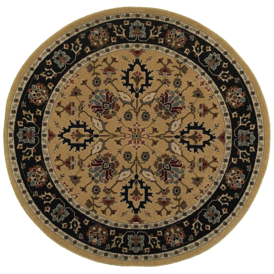 Oriental Weavers of America Braden Gold Round Indoor Machine-made Oriental Area Rug (Common: 7 X 7; Actual: W x L x 39.5-ft dia)