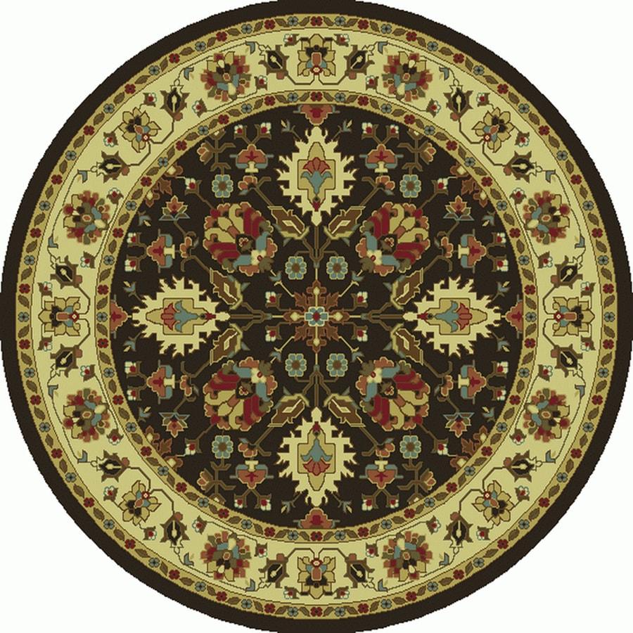 Oriental Weavers of America Braden Black Round Indoor Machine-made Oriental Area Rug (Common: 7 X 7; Actual: W x L x 39.5-ft dia)