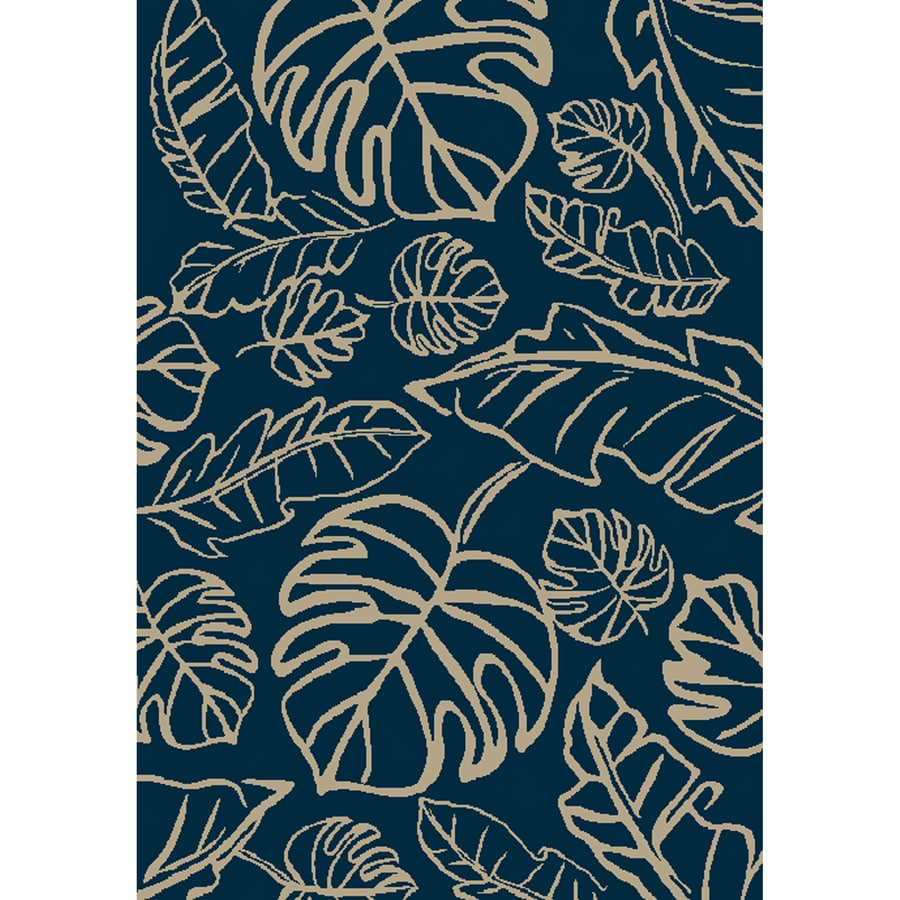 Allen + Roth Aveton Navy Rectangular Indoor/Outdoor Machine Made Tropical Area  Rug (