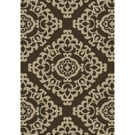 Garden Treasures Weyland Brown Rectangular Indoor Outdoor Machine Made Oriental Area Rug Common
