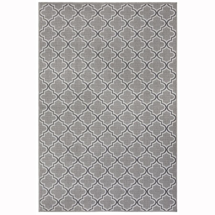 Garden Treasures Greige Trellis Gray  Indoor/Outdoor  Area Rug (Common: 10 X 13; Actual: 9.5-ft W x 12.67-ft L x dia)