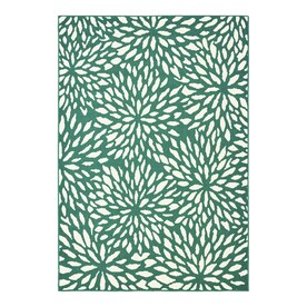 Garden Treasures Floral Teal Indoor/Outdoor Area Rug (Common: 5 x 7; Actual: 5-ft W x 7-ft L)
