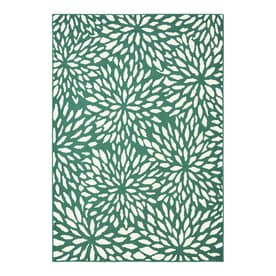 Garden Treasures Floral Teal Rectangular Machine-made Area Rug (Common: 5 X 7; Actual: 5-ft W x 7-ft L x dia)