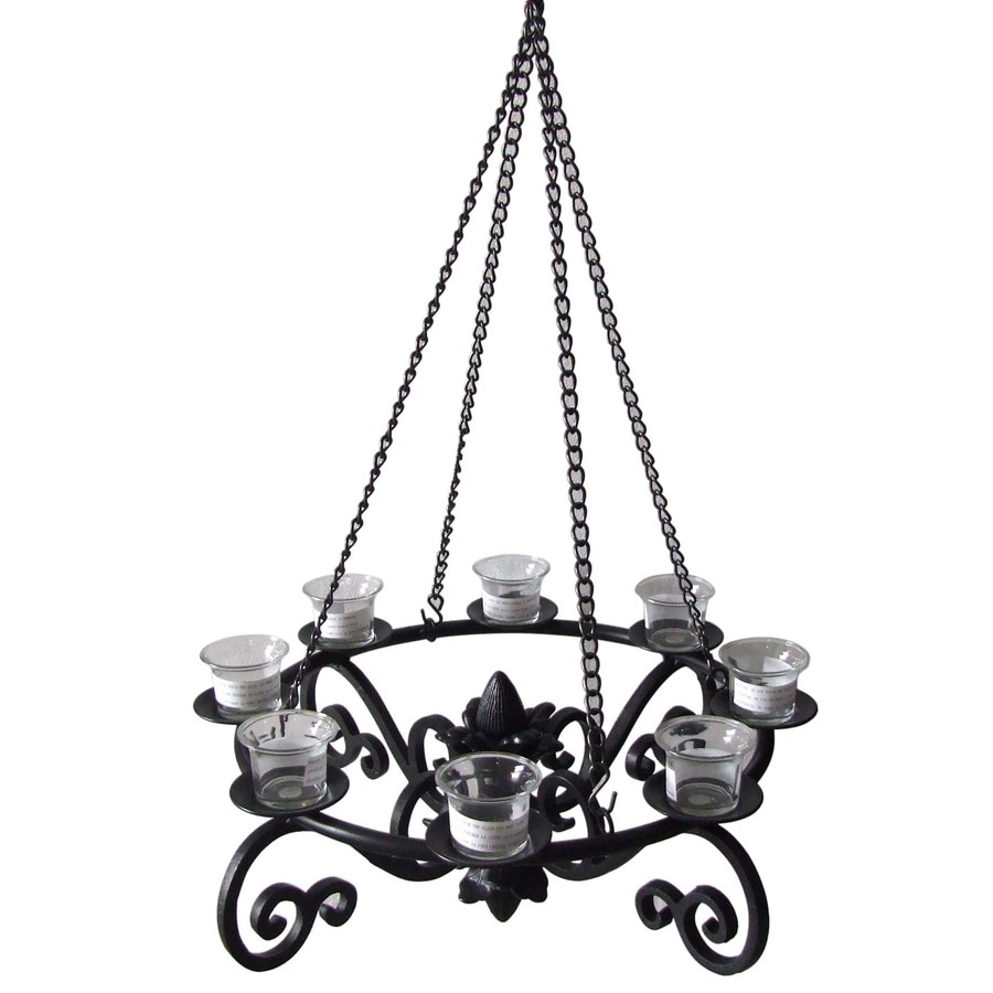 Shop allen roth 19in x 19in Black Metal Votive Candle Outdoor – Candle Chandelier Outdoor