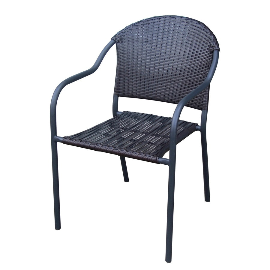 Garden Treasures Pelham Bay Matte Black Steel Wicker Stackable Patio Dining Chair