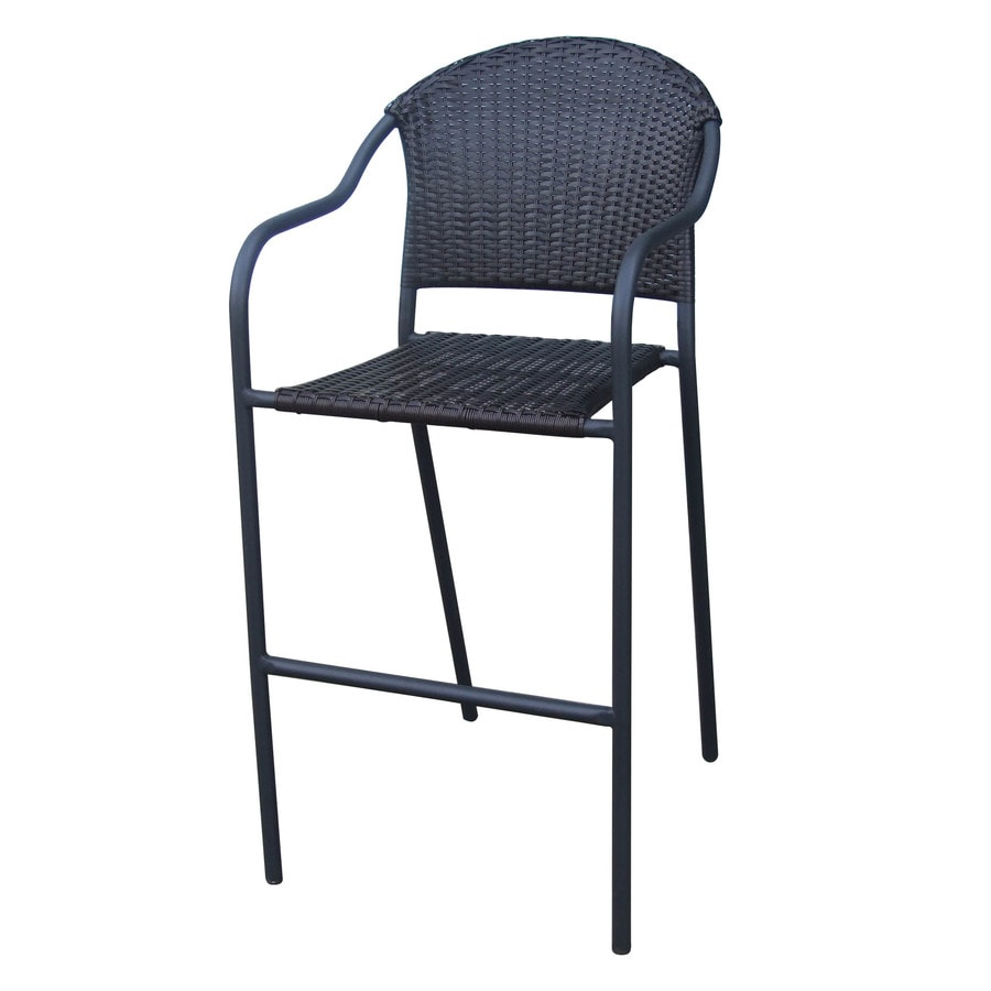 Garden Treasures Pelham Bay 1-Count Matte Black Steel Stackable Patio Bar Stool Chair