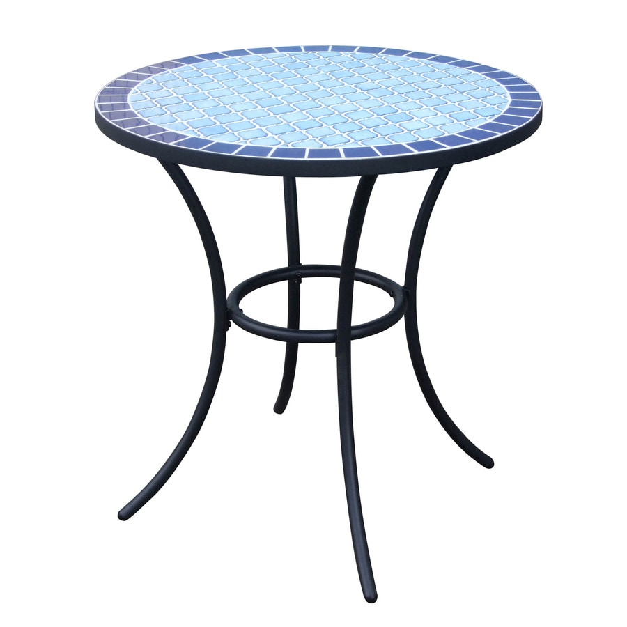 Outdoor Tile Table Top Shop Garden Treasures Pelham Bay 4 Seat Round Black Steel Bistro