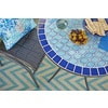 Garden Treasures Pelham Bay 4 Seat Round Black Steel Bistro Patio Dining  Table With Blue Mosaic Tile Tabletop