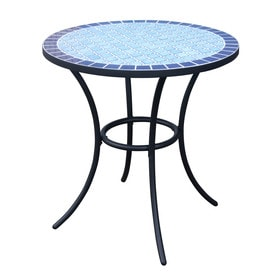 garden treasures pelham bay 4 seat round black steel bistro patio dining table with blue