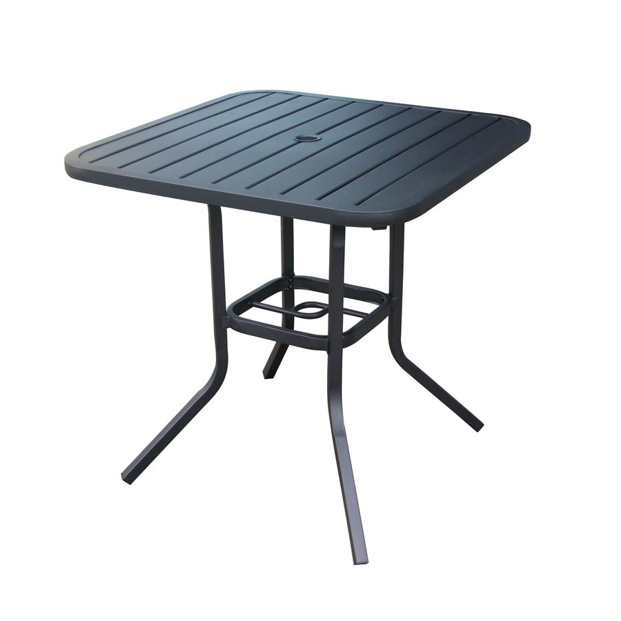 Outdoor Table Part - 34: Garden Treasures Pelham Bay 29.5-in W X 29.5-in L Square Steel Dining