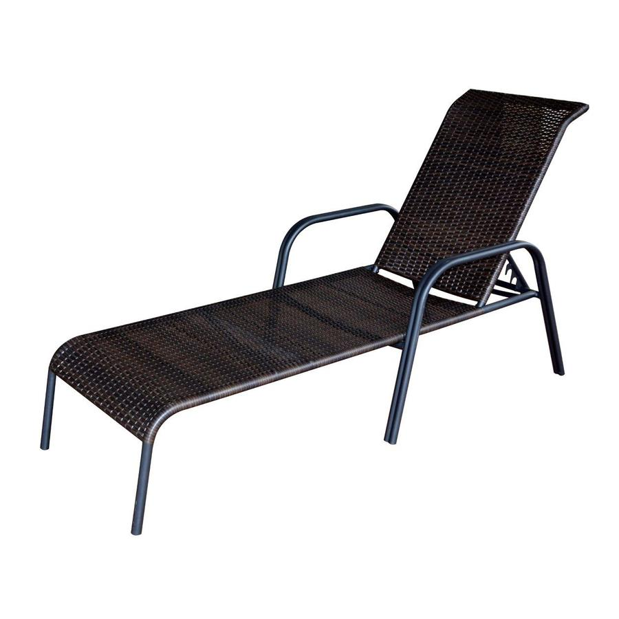 garden treasures pelham bay 1 count brown steel stackable patio chaise lounge chair - Garden Furniture Loungers