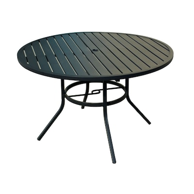 Pleasant Pelham Bay Round Dining Table 48 In W X 48 In L With Umbrella Hole Dailytribune Chair Design For Home Dailytribuneorg