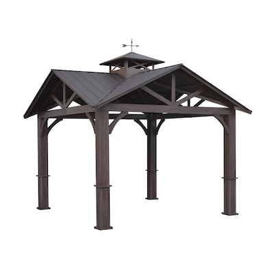 Wood Looking Hand Paint Metal Square Semi Gazebo Exterior 12 Ft X Foundation 9 16